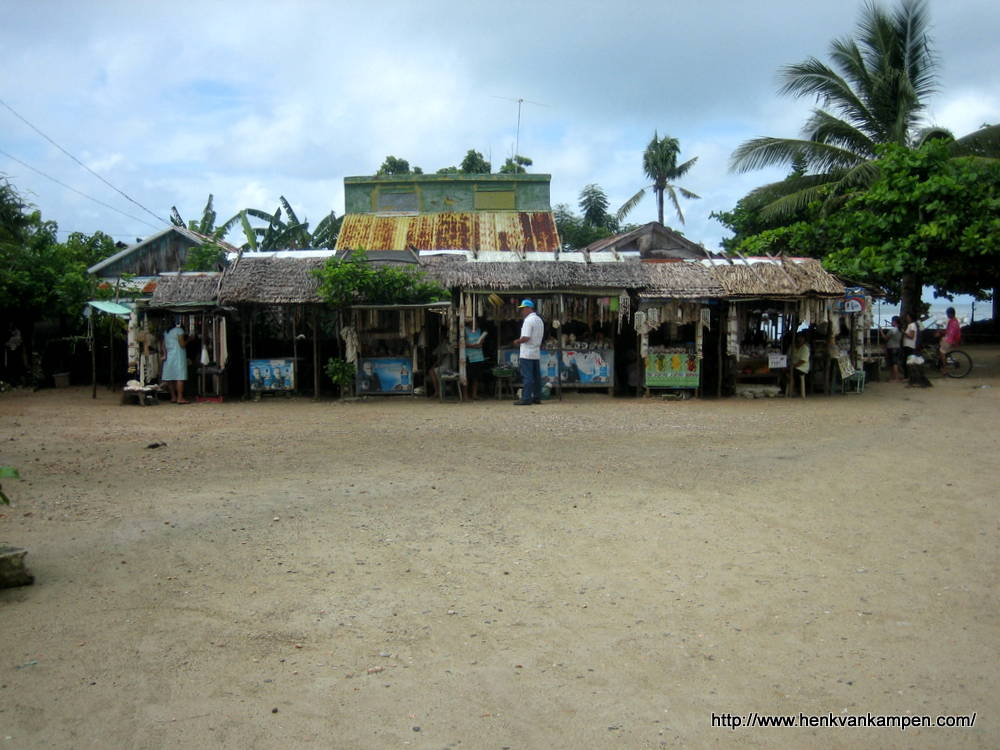 Souvenir stalls outside the church of Sulangan