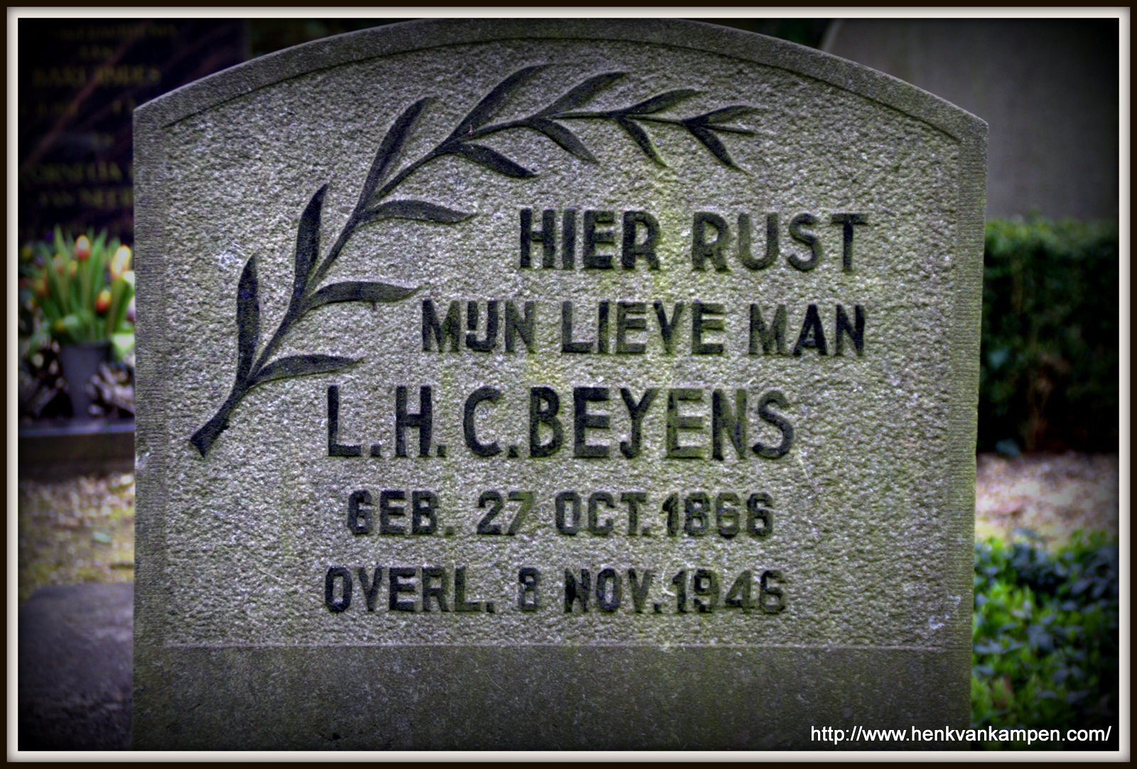 Tombstone of Louis Henri Corneille Beijens, Kerkveld cemetery, Nieuwegein