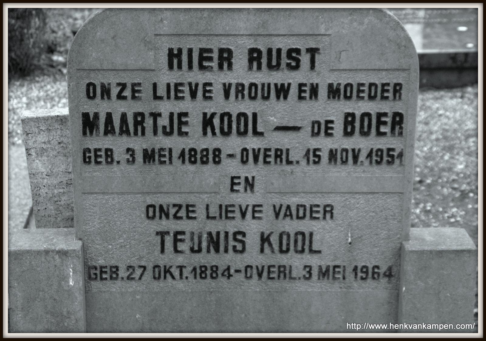 Kool - de Boer tombstone, Kerkveld cemetery, Nieuwegein