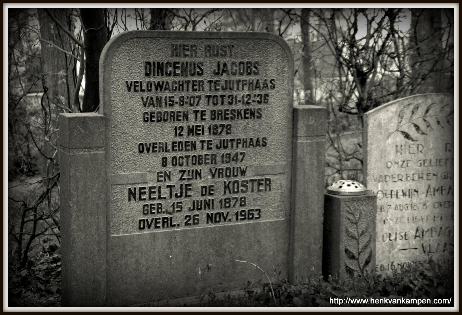 Tombstone of Dingenus Jacobs, Kerkveld cemetery, Jutphaas