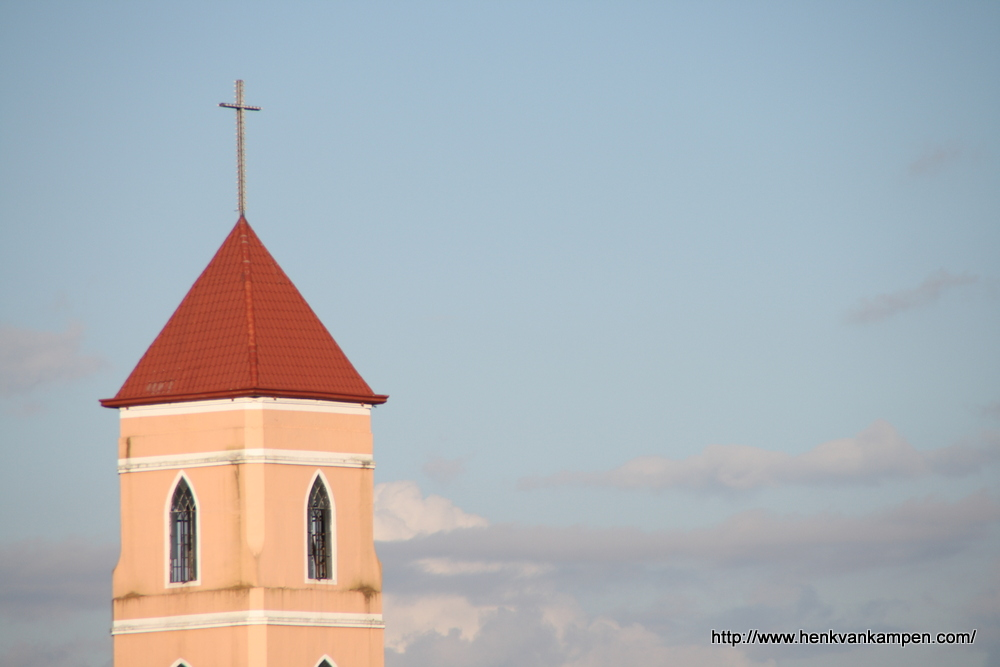 Spire of the Santo Niño Church in Tacloban City, Philippines