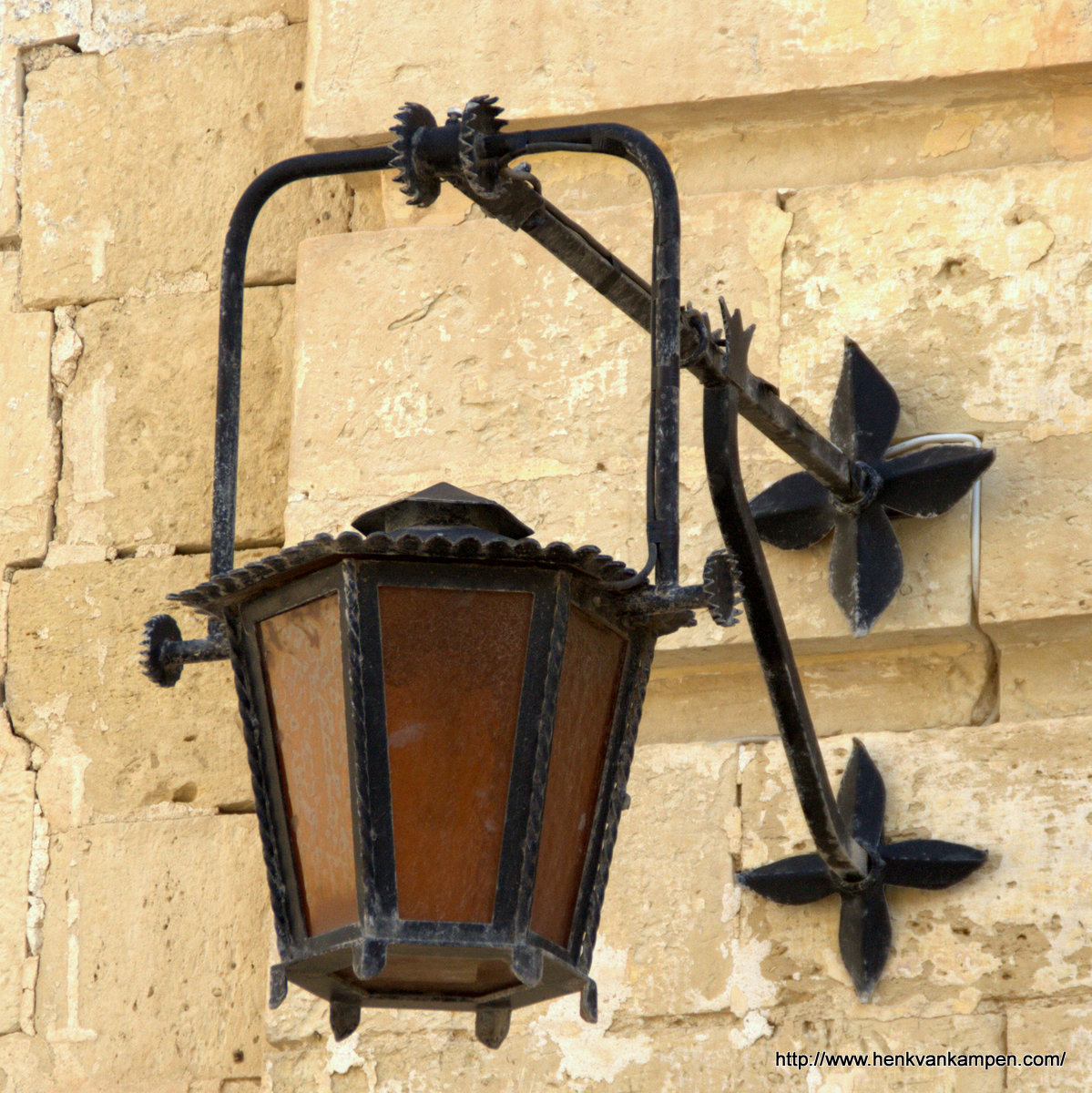 A lantern in the streets of Mdina, Malta