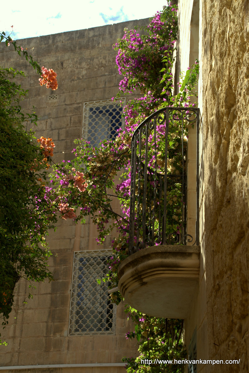 Flowers on a balcony in Mdina, Malta