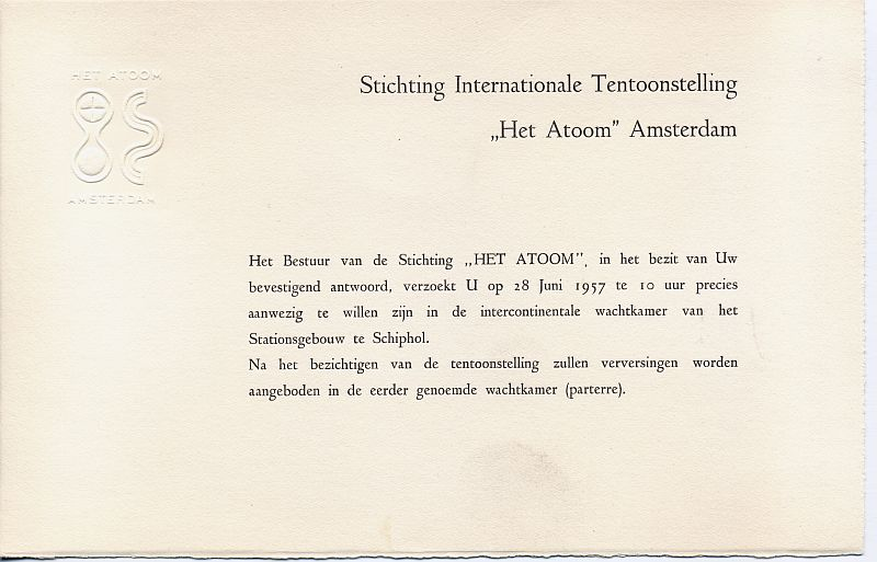 """Admission details at the opening of exhibition """"The Atom"""""""