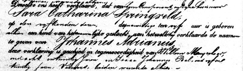 Birth certificate of Johannes Adrianus Pardoen