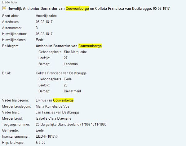 Marriage record for Anthonius Bernardus van Couwenberge and Colletta Francisca van Bestbrugge