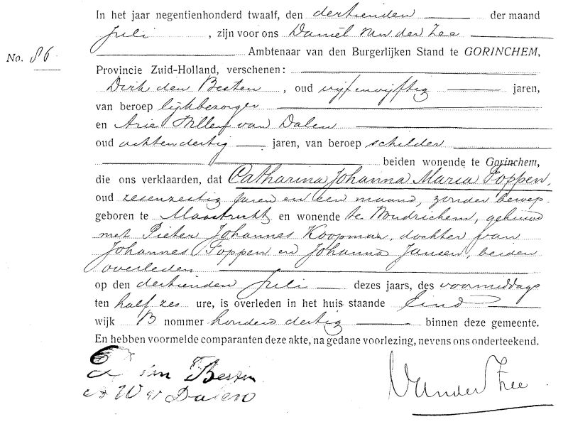 Death certificate of Catharina Johanna Maria Foppen
