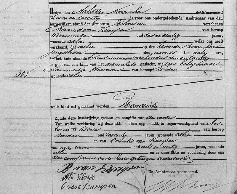 Birth certificate of Hendrik van Kampen, Hilversum 1877