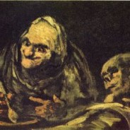 Goya's black paintings: Two old people eating