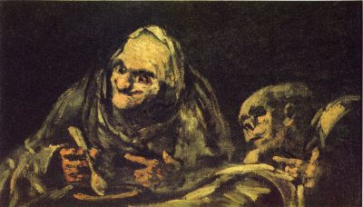 Francisco Goya - Black Paintings - Two old people eating