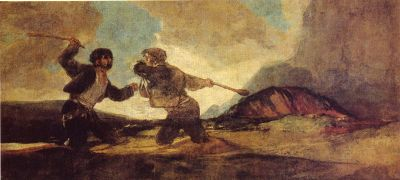 Francisco Goya - Black Paintings - Two men fighting with clubs