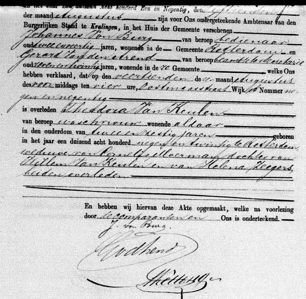Death certificate of Theodora van Keulen