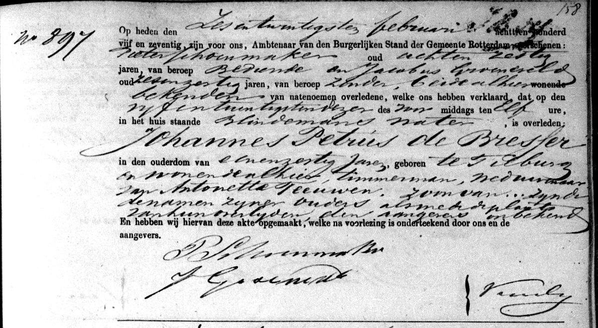 Death certificate of Johannes Petrus de Bresser