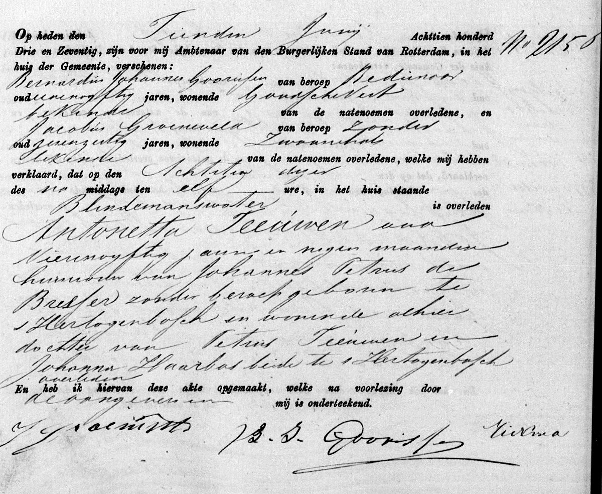 Death certificate of Antonetta Theeuwen