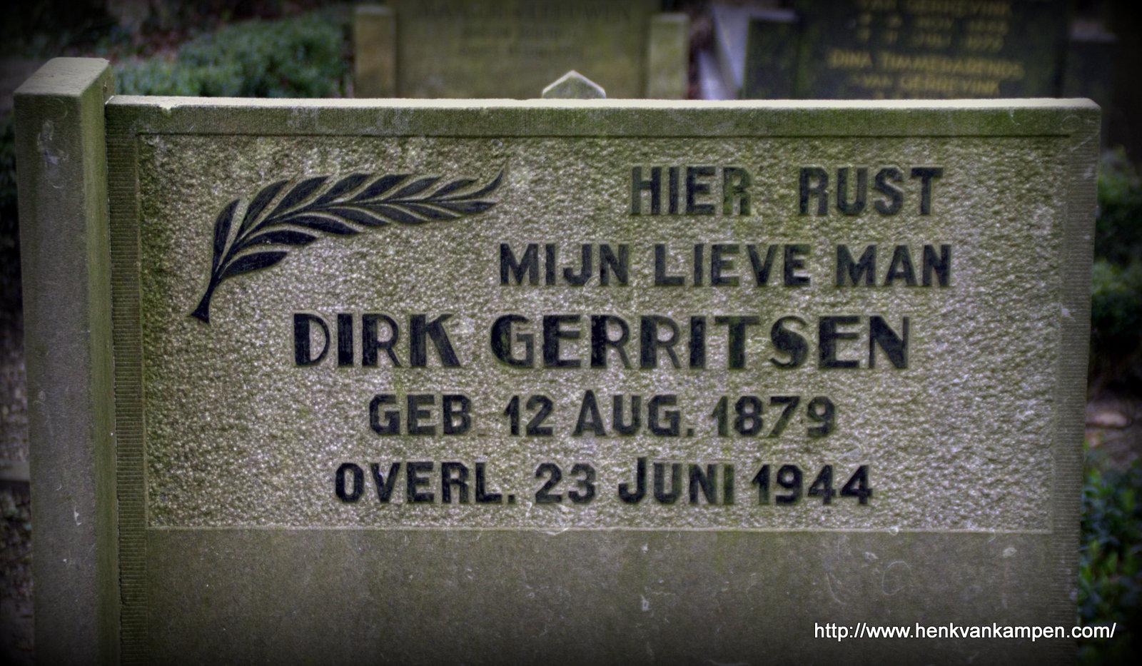 Tombstone of Dirk Gerritsen. Kerkveld cemetery, Nieuwegein.