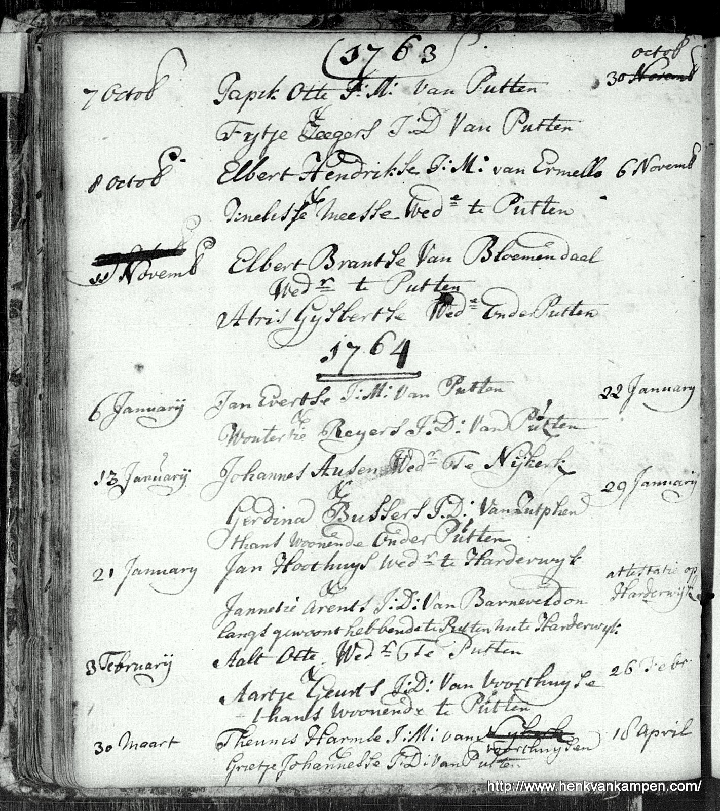 Marriage book of Putten, with the marriage of Teunis Harmse van 't Land and Grietje Johannesse