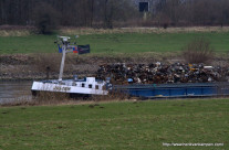 Ship with scrap cargo on the IJssel river