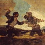 Goya's black paintings: Two men fighting with clubs